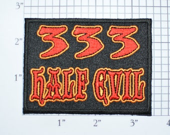 333 Half Evil Iron-On Embroidered Clothing Patch MC Motorcycle Outlaw Biker 1%er Jacket Vest Shirt Funny Novelty Almost 666 Devil Costume
