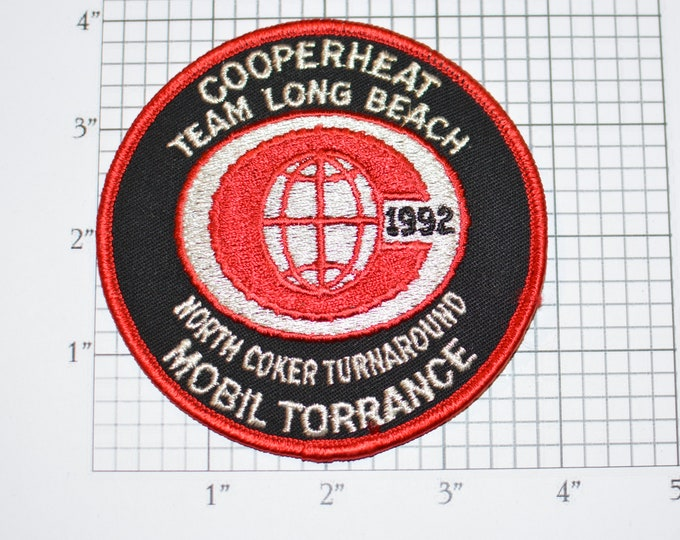 Cooperheat Team Long Beach North Coker Turnaround Mobil Torrance 1992 Vintage Iron-on Embroidered Clothing Patch for Uniform Shirt Jacket