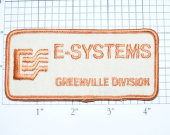 E-Systems Greenville Division Iron-On Vintage Embroidered Patch for Uniform Shirt Jacket Emblem Defense Electronics Aerospace Aircraft