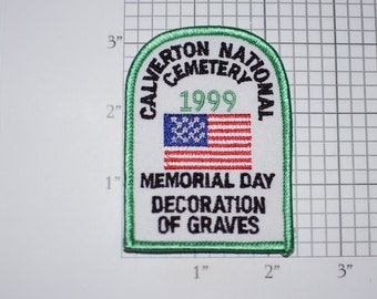 Calverton National Cemetery 1999 Memorial Day Decoration of Graves Sew-on Vintage Embroidered Clothing Patch Veteran Soldier Remembrance