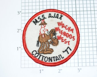 M.S.S. Ajax Cottontail '77 Wacky Wierdos West (Dirty/Dingy) BSA Sew-On Vintage Embroidered Patch Collectible Uniform Emblem Scrapbook Idea