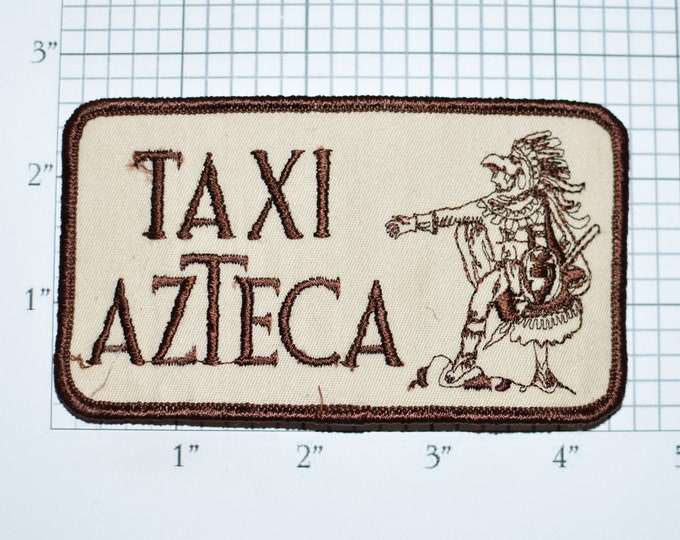 Taxi Azteca Sew-on Vintage Embroidered Clothing Patch for Uniform Jacket Shirt Vest Cab Driver Collectible Cool Fun Unique Rare Logo Emblem