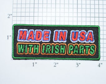 Made in USA with Irish Parts Iron-on Embroidered Clothing Patch American Ireland Ethnic Pride Emblem DIY Clothes Clothing Jacket Shirt t03g