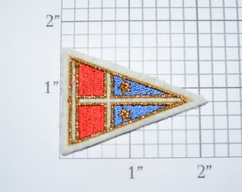 Pennant Flag Red and Blue with 2 Stars Small Sew-On Vintage Embroidered Applique Patch DIY Clothing Accent Project Sewing Crafts Scrapbook