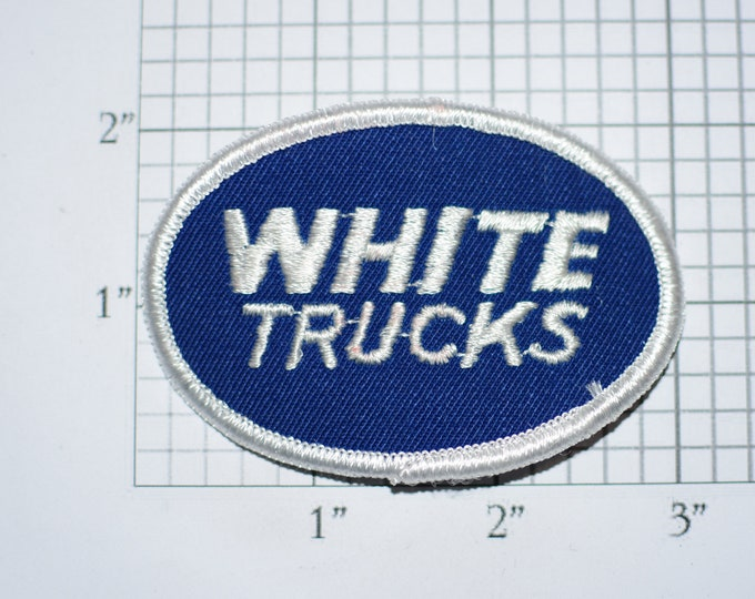 White Trucks - Vintage Iron-On Embroidered Clothing Patch Trucker Driver Transportation Hauling Freight Big Rig Tractor Trailer Emblem Logo