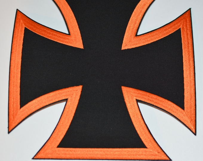"""Iron Cross - Choppers Cross - Biker Cross - Large 9"""" Back Patch - Only 2 Colors Left to Choose From (see pics) - Biker Iron-On Patch"""