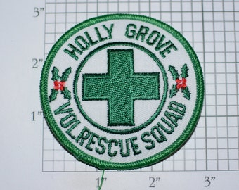 Holly Grove Volunteer Rescue Squad (Louisa County, Virginia VA) Iron-On Embroidered Vintage Clothing Patch for Uniform Shoulder Collectible