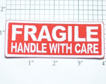 Fragile Handle With Care Red Iron-on Embroidered Clothing Patch for Jean Jacket Backpack Shirt Hoodie DIY Baby Clothes Infant Toddler Child