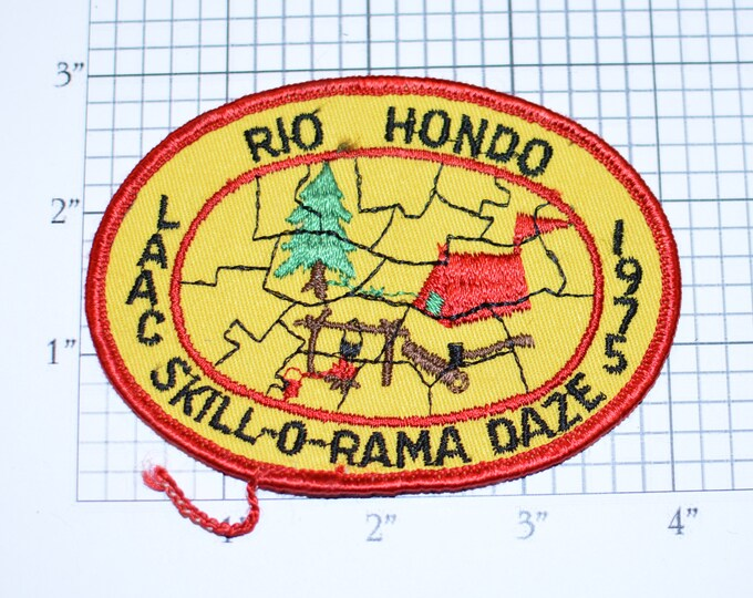 Rio Hondo LAAC Skill-o-rama Daze 1975 BSA Sew-On Vintage Embroidered Clothing Patch Uniform Jacket Keepsake Memorabilia Scouting Badge Camp