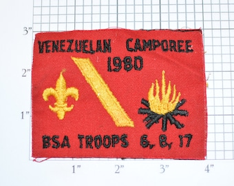 Venezuelan Camporee 1980 BSA Troops 6,8, 17 (No Border, As-is) Embroidered Vintage Sew-on Clothing Patch Uniform Collectible Badge Memento