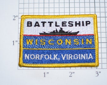 Battleship Wisconsin Norfolk Virginia Vintage RARE Iron-on Embroidered Clothing Patch Military Collectible Memorabilia USS Veteran Gift Idea