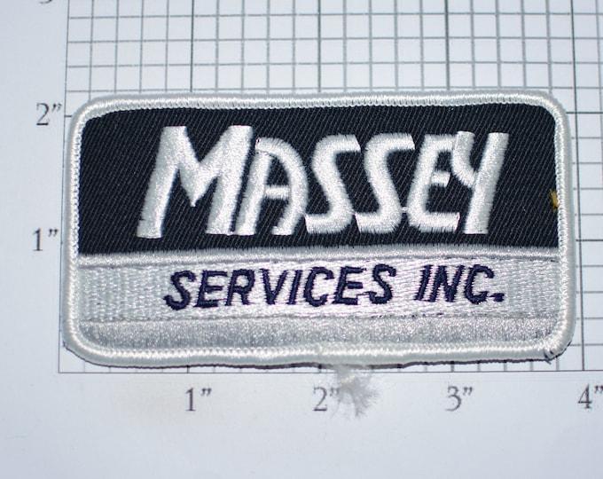 Massey Services Inc, Mint-Condition Vintage Iron-on Embroidered Clothing Patch for Uniform Shirt Jacket Vest Insignia Logo Emblem Crest