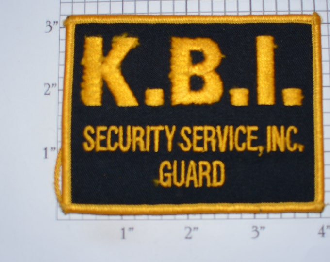 K.B.I. Security Service, Inc. Guard Iron-On Vintage Embroidered Patch (Some Thread Damage) for Officer Uniform Shoulder Emblem Collectible