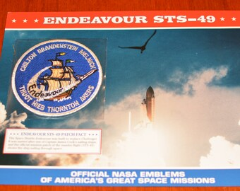 Space Shuttle Endeavour STS-49 (Maiden Flight) Ship DISCONTINUED Mint NASA Mission Patch w/ Statistics and Fact Card Collectible Memento