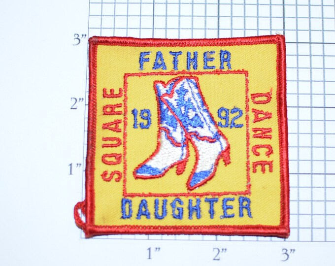 Father Daughter Square Dance 1992 Embroidered Vintage Iron-on Patch Collectible Memorabilia Souvenir Keepsake Memento Scrapbook Memorybox