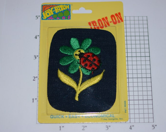"Ladybug on Flower ""Joy Patch"" Vintage Denim Iron-on Embroidered Clothing Patch (Unopened Original Pkg) Jeans Jacket DIY Accent Hole Repair"