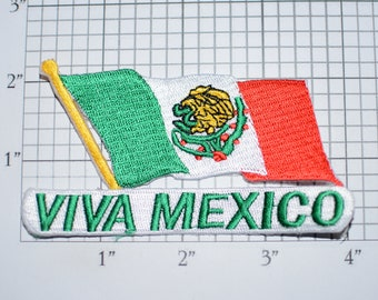 VIVA MEXICO (Long Live Mexico) Iron-on Embroidered Patch Beautiful Travel Trip Tourist Souvenir Memento Mexican Ethnic Cultural Pride Emblem