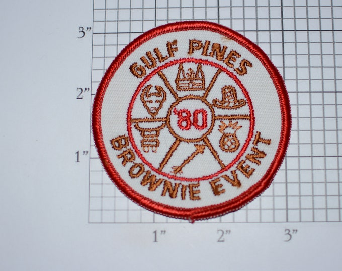 Gulf Pines '80 Brownie Event 1980 Girl Scout Council Vintage Clothing Patch Emblem Logo Keepsake Collectible Scrapbook Memorybox Gift Idea
