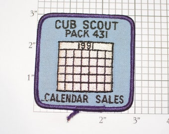 Cub Scout Pack 431 1991 Calendar Sales Iron-On Vintage Embroidered Clothing Patch Award Badge Youth Fund Raising Achievement Keepsake Crest