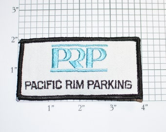 Pacific Rim Parking PRP Rare Vintage Iron-On Embroidered Clothing Patch Uniform Shirt Vest Jacket Attendant Valet Cosplay Costume Worker