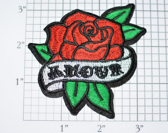 AMOUR Love Red Rose Iron-on Patch Embroidered Applique Jacket Patch Jeans Patch Vest Patch Hat Patch Backpack Patch DIY Clothing Patch e23j