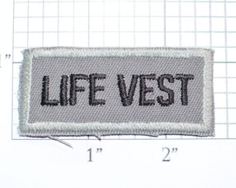 Life Vest Sew-On Vintage Embroidered Text Patch Airplane Boating Flotation Swimming Pool Lifeguard Beaches DIY Craft Project Emblem e31g