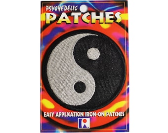 Yin and Yang Patch Iron-on Patch Vintage Patch Embroidered Patch Applique Taijitu Personal Tao Taoism Black & Silver Chinese Philosophy bb3
