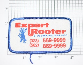 Expert Rooter Plumbing Service Vintage Embroidered Clothing Patch for Uniform Shirt Jacket Vest Hat Contractor California Business Plumber