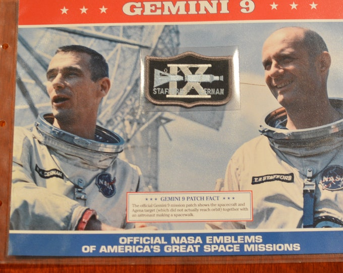 Gemini 9 Stafford Cernan DISCONTINUED Mint Space NASA Mission Patch w/ Statistics and Fact Card in Protective Sleeve