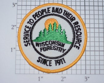 Wisconsin Forestry Service to People and Their Resources Since 1911 Iron-on Vintage Embroidered Patch for Uniform Jacket Backpack Ranger