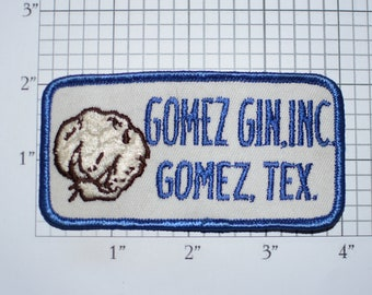 Gomez Gin (Cotton), Inc (Texas) Sew-On Vintage Embroidered Clothing Patch Employee Uniform Shirt Jacket Emblem Logo Workshirt Worker Costume