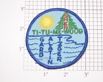 Ti Tu Me Wood Sherwood Gard Alatin Tzger Sew-On Embroidered Clothing Patch Jacket Vest Keepsake Memorabilia Sun Pine Tree Logo Emblem Badge