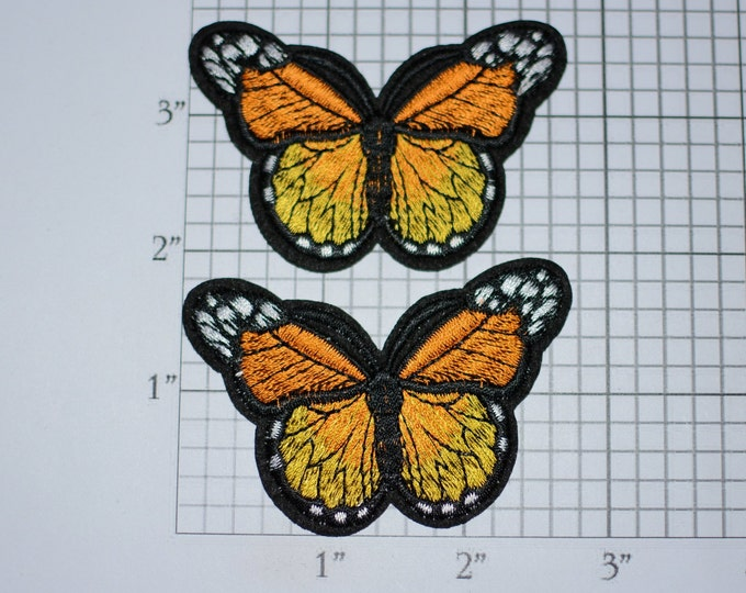 Monarch Butterfly Iron-On Embroidered Clothing Patch (Lot 2 Pieces) Cool Fun Realistic Cute Nature Beautiful Accessory for Jacket Shirt Hat