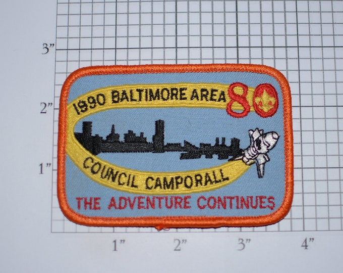 The Adventure Continues 1990 Baltimore Area Council Camporall BSA Vintage Embroidered Clothing Patch Uniform Shirt Jacket Badge Memorabilia