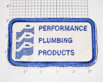 Performance Plumbing Products Vintage Sew-On Embroidered Clothing Patch Employee Uniform Shirt Logo Collectible Souvenir Plumber Contractor