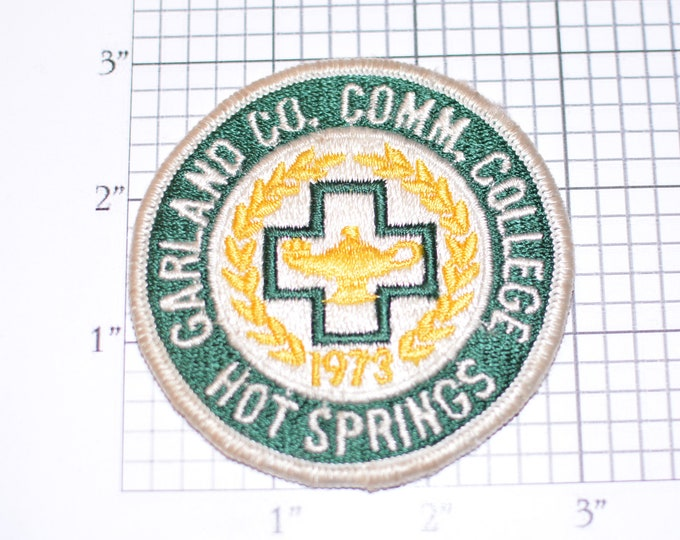 Garland County Community College Hot Springs (Arkansas) Vintage Embroidered Clothing Patch OBSOLETE Collectible Emblem Logo Insignia Crest