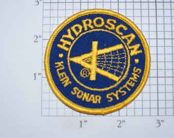 Hydroscan Klein Sonar Systems (Marine Surveying) Vintage Embroidered Clothing Patch For Employee Uniform Shirt Jacket Hat Collectible Emblem