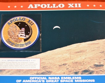 Apollo XII (Second Lunar Moon Landing) DISCONTINUED Mint Space NASA Mission Patch w/ Statistics and Fact Card Collectible Aerospace Memento