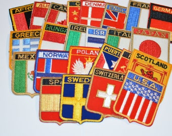 Country Flag / Shield Vintage Embroidered Patches (Each Sold Separately) Travel Trip Tourist Souvenir Emblem Gift Idea Collectible Crest