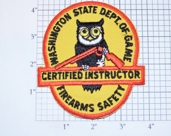 Washington State Department of Game Firearms Safety CERTIFIED INSTRUCTOR Iron-on Vintage Embroidered Clothing Patch for Jacket Vest Hat Logo