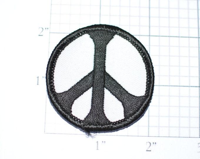 "Peace Symbol B&W Black White Vintage Iron-on Patch 2"" Circular Hippie Patch Jacket Patch Vest Patch Jeans Patch Backpack Patch Boho ap2"