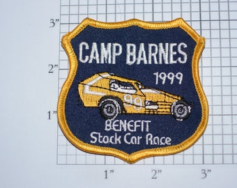 Camp Barnes 1999 Benefit Stock Car Race (Delmar, Delaware International Speedway) Iron-On Vintage Embroidered Clothing Patch Souvenir Emblem