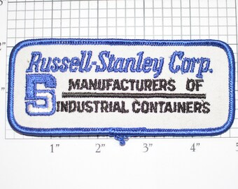 Russell Stanley Corp Manufacturers of Industrial Containers Iron-On Vintage Embroidered Patch for Uniform Shirt Jacket Emblem Logo Insignia