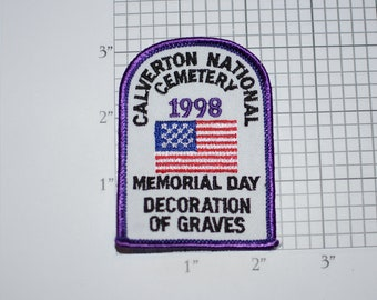 Calverton National Cemetery 1998 Memorial Day Decoration of Graves Sew-on Vintage Embroidered Clothing Patch Veteran Soldier Remembrance