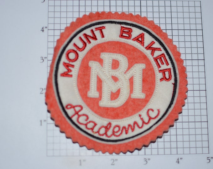 Mount Baker Academic School Crest Sew-On Vintage Embroidered Patch for Jacket Vest Shirt Emblem Collectible Insignia Keepsake Memento