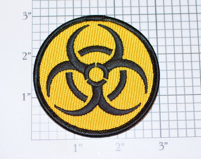 Yellow Biohazard Symbol Iron-on (or Sew-on) Embroidered Clothing Patch for Biker Jacket Vest MC Shirt Jeans Backpack Hat Gift Idea Gamer 1%
