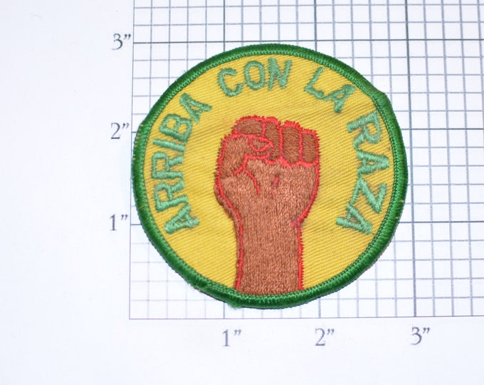 Arriba Con La Raza Sew-On Vintage Embroidered Clothing Patch (Slightly Dingy) Ethnic Pride Fist Logo for Jacket Shirt Vest Hat Backpack