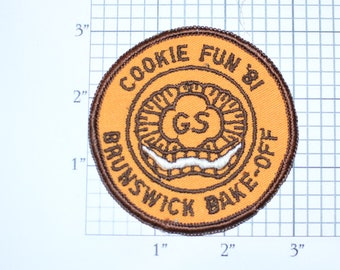 Cookie Fun '81 Brunswick Bake-Off GS 1981 Girl Scout Sale Vintage Sew-on Clothing Patch Emblem Keepsake Collectible Scrapbook Gift Daughter