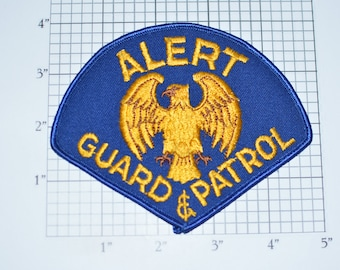 Alert Guard & Patrol Eagle Iron-On Vintage Embroidered Uniform Shoulder Patch Jacket Vest Shirt Costume Cosplay Home Security Bodyguard e31a
