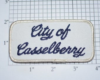 City of Caselberry Iron-On Vintage Embroidered Clothing Patch Trip Travel Souvenir Jacket Vest Backpack Memento Worker Employee Florida FL